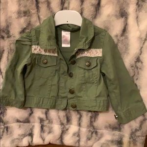 Other - Khaki green jacket with lace and ribbon details